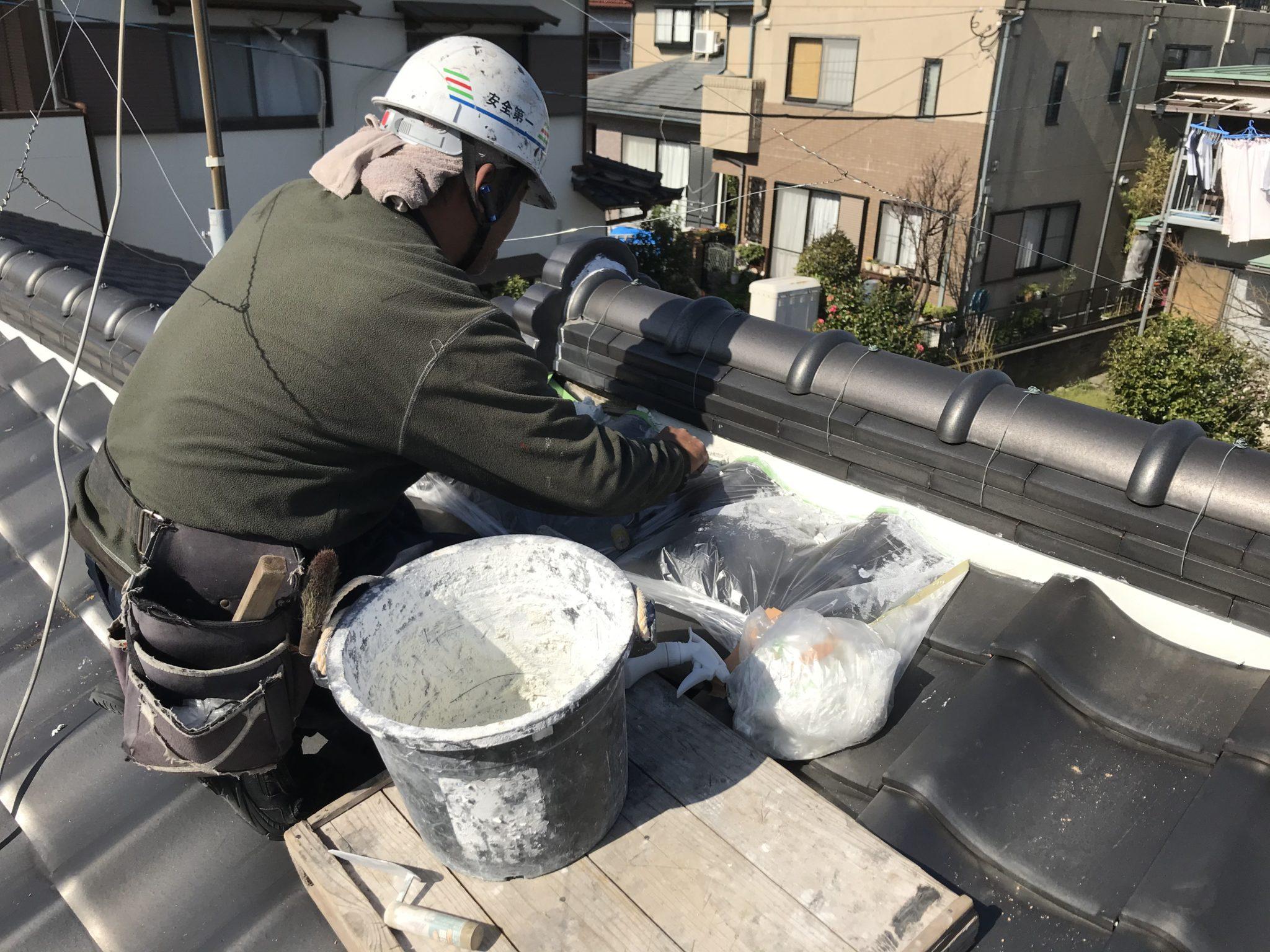 屋根漆喰工事 工程4