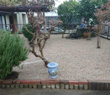 庭の雑草予防(防草シート)~砂利引き 施工後